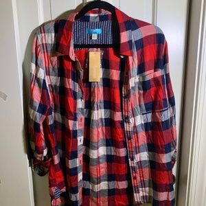 Francesca's Collections Tops - red, black, white flannel